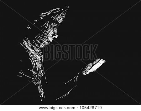Young girl using smart phone in darkness, Vector sketch, Hand drawn illustration