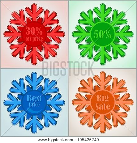Color cut snowflake labels with copy space.