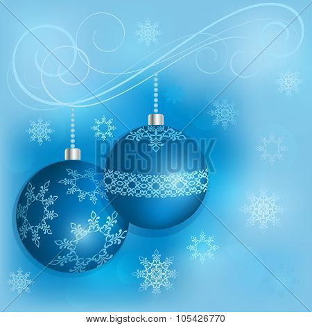 Blue Christmas decoration balls vector card template.