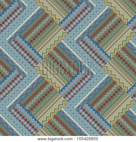 Seamless beige and blue patch vintage vector pattern.