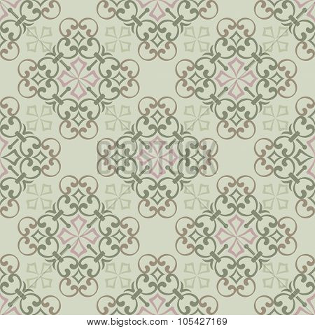 Seamless vintage green wallpaper vector pattern.
