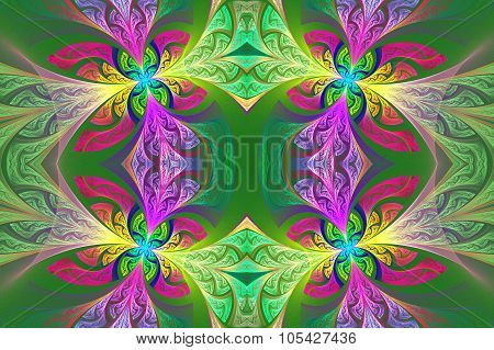 Multicolored Symmetrical Flower Pattern In Stained-glass Window Style. Green And Purple Palette. Art
