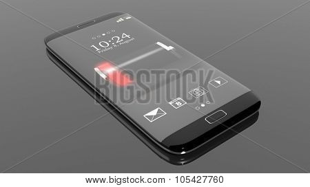 Smartphone with low battery indicator on screen, isolated on black