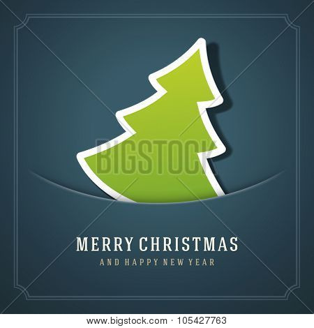 Christmas Tree and Happy New Year message applique vector background