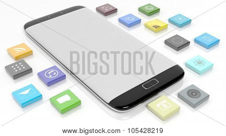 Smartphone template with apps in shape of a beveled square, isolated on white background.