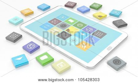 Tablet with apps in shape of a beveled square, isolated on white background.