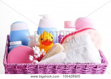 basket full of baby accessories - baby stuff