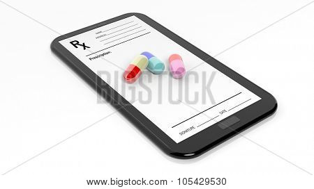Colorful caplets on smartphone screen with Rx form, isolated on white background.