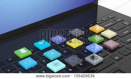 Laptop with beveled square apps on keyboard