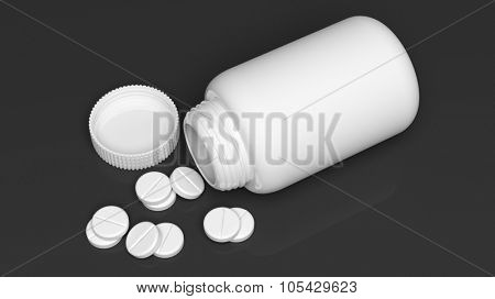 White blank bottle and pills, isolated on black background.