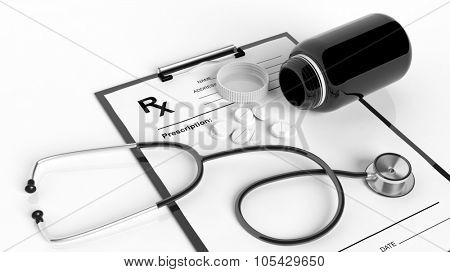 Blank prescription form with bottle of pills and stethoscope, isolated on white.