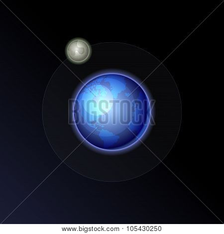 Earth and Moon on the Night Sky Background. Vector