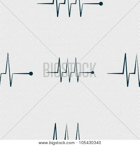 Cardiogram Monitoring Sign Icon. Heart Beats Symbol. Seamless Abstract Background With Geometric