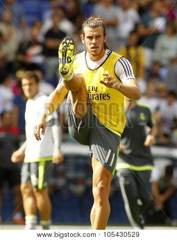 BARCELONA - SEPT, 12: Gareth Bale of Real Madrid before a Spanish League match against RCD Espanyol at the Power8 stadium on September 12 2015 in Barcelona Spain