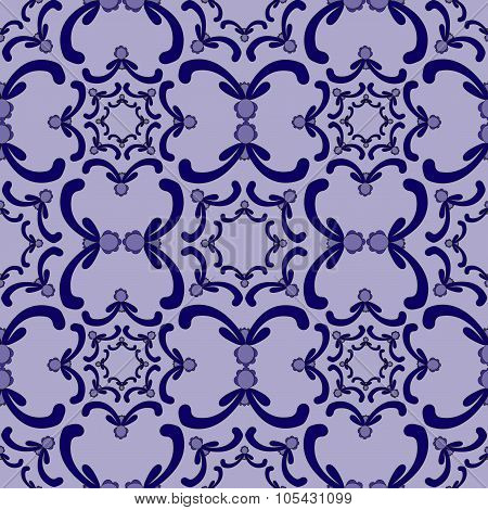 Ornamental Seamless Pattern. Vintage Template. Blue Curve Elements On The Purple Background.