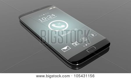 Black smartphone edge with Missed Call notification on screen, isolated on black.