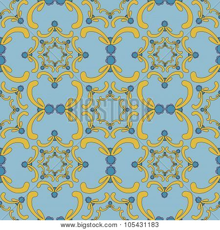 Ornamental Seamless Pattern. Vintage Template. Blue Background With Yellow Curve Elements. Filigree