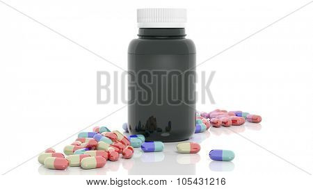 Colorful caplets and bottle, isolated on white background.