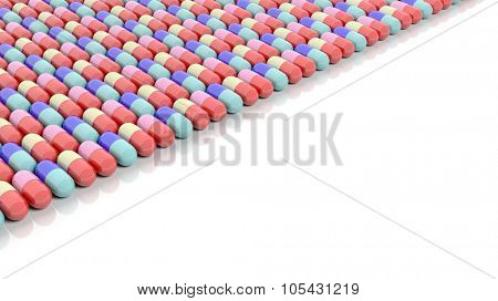 Colorful caplets with copy-space, isolated on white background.