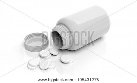 White blank bottle and pills, isolated on white background.