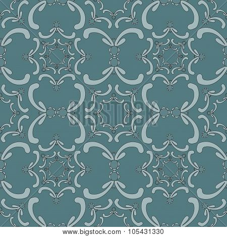 Ornamental Seamless Pattern. Vintage Template. Gray Background With Curve Elements. Filigree Texture