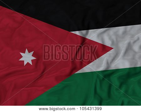 Closeup of ruffled Jordan flag