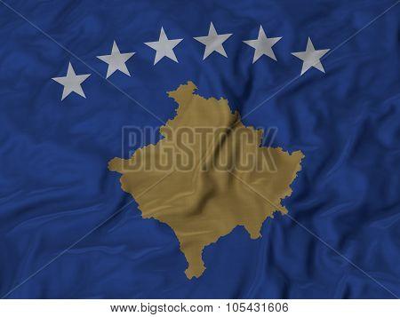 Closeup of ruffled Kosovo flag