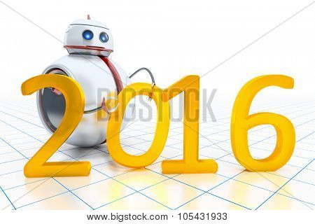 A sweet little robot with the number 2016