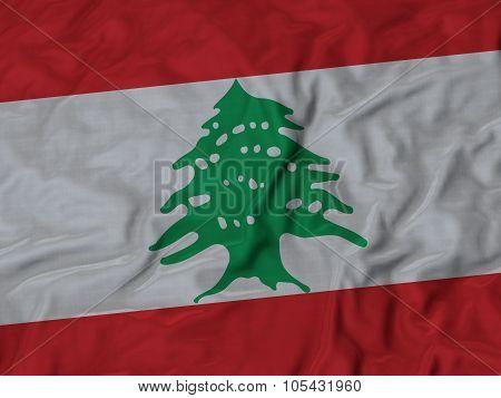 Closeup of ruffled Lebanon flag