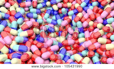 Colorful caplets pile background.
