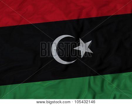 Closeup of ruffled Libya flag