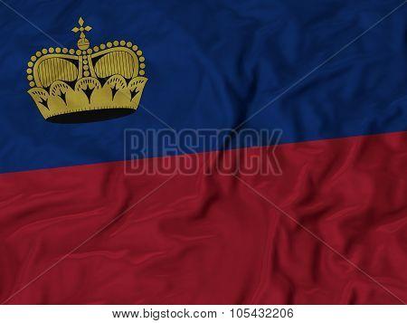 Closeup of ruffled Liechtenstein flag