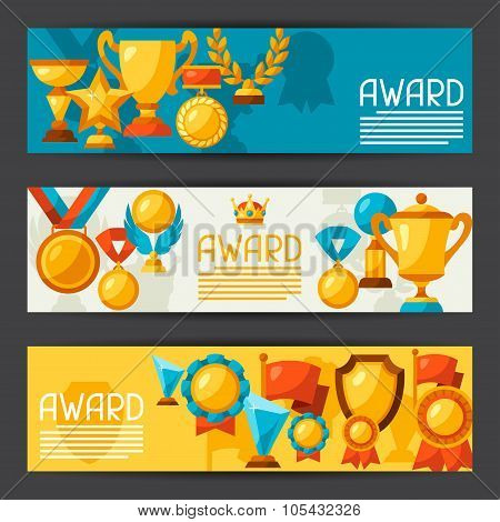 Sport or business banners with award icons