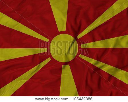 Closeup of ruffled Macedonia flag