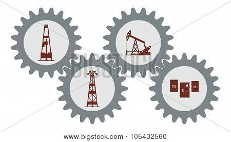 Set gear with silhouettes of the oil industry.