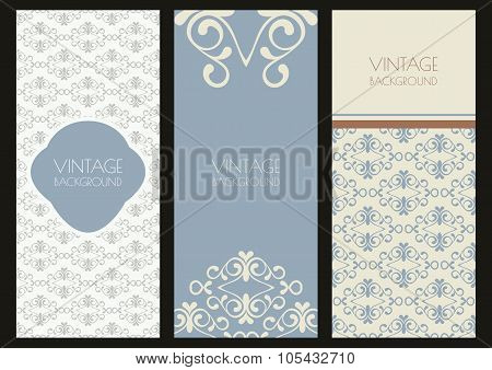 Set Of Vector Vintage Banner Template With Flourish Ornaments. Floral Seamless Pattern And Backgroun
