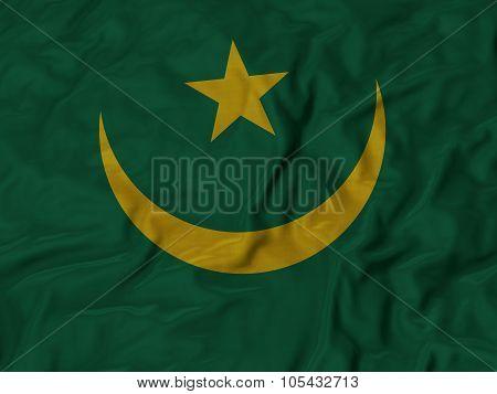 Closeup of ruffled Mauritania flag