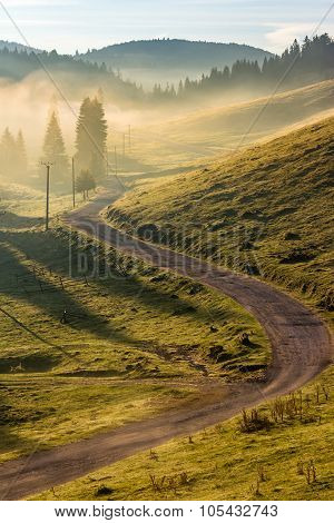 Curve Road To Mountain Forest In Fog At Sunrise