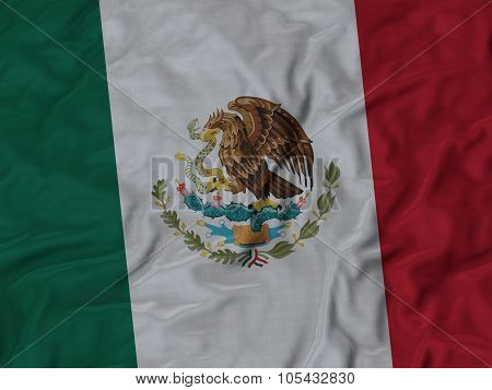 Closeup of ruffled Mexico flag
