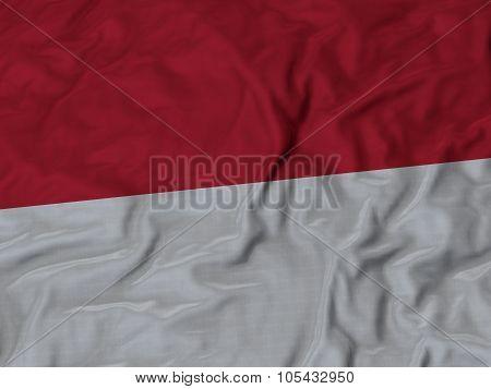 Closeup of ruffled Monaco flag