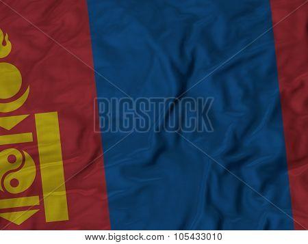 Closeup of ruffled Mongolia flag