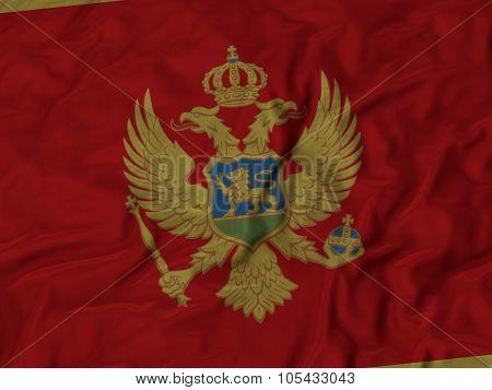 Closeup of ruffled Montenegro flag