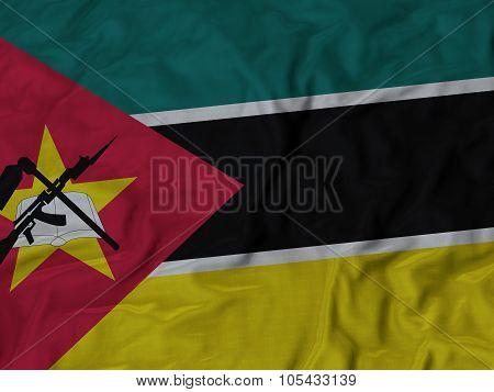Closeup of ruffled Mozambique flag