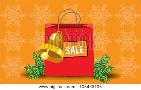 Shopping christmas package paper bag