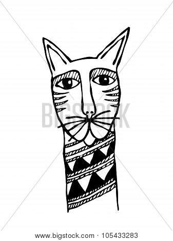 Cats head primitive tattoo