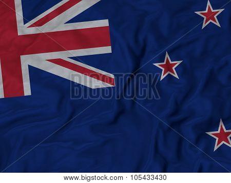 Closeup of ruffled New Zealand flag