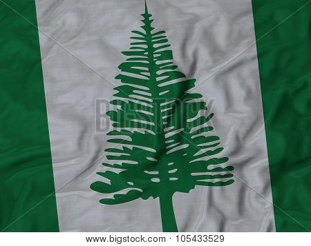 Closeup of ruffled Norfolk Island flag
