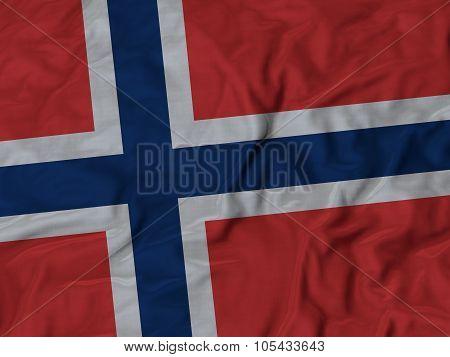 Closeup of ruffled Norway flag