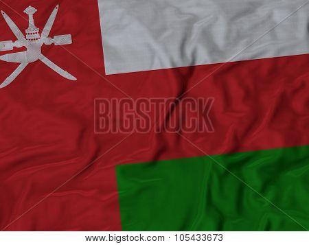 Closeup of ruffled Oman flag