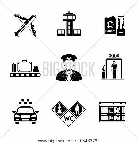 Set of AIRPORT icons - airplane, airport, passport and ticket, luggage, pilot, gates, taxi, toilet i